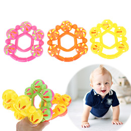 Wholesale Hand Bell Baby Toys - Baby Toys Five Flower Bells Plastic Hand Jingle Shaking Bell Baby Infant Newborn Baby Gripping Development 0-12M Rattles Toy