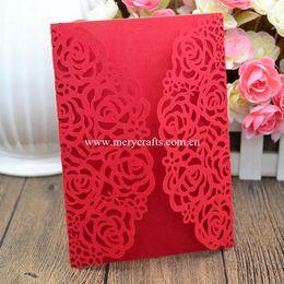 Wholesale Laser Rose - Wholesale- Personalized Rose flower wedding invitation card laser cut invitation card wedding invitations