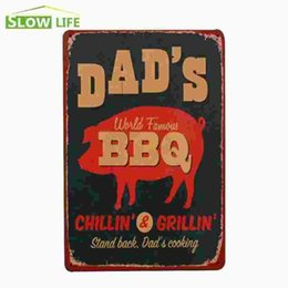 """Wholesale Bbq Signs - Dad's World Famous BBQ Vintage Home Decor Tin Sign 8""""x12"""" Bar Garage Wall Decor Metal Plate Lovely Metal Sign Retro Metal Poster 20170408#"""