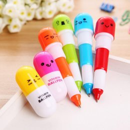 Wholesale Pill Pens - Pill Shape Retractable Ball Point Pen Rollerball Pens Creative Stationery Students Children's Gifts DHL Free Shipping