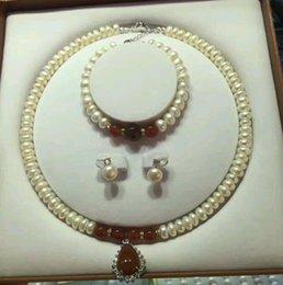 afrikanischer smaragdring Rabatt 100% AAA Perlenkette Set Halskette + Armband + Ohrring Perlenkette Set