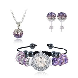 Wholesale Shamballa Bracelets Watch Crystal Beads - Gradient Crystal Disco Ball Beads Set Fashion Shamballa Set Watch Bracelet Necklace Earrings Sets Mix Colors Options SHLSTJmix1