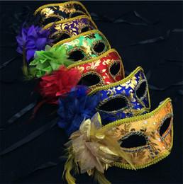 Wholesale Venice Flowers - 30PCS Half Face Mask Halloween Masquerade mask male, Venice, Italy flathead lace bright edge cloth flower masks I057