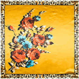 Wholesale Satin Rose Large - Wholesale-90cm*90cm European Rose Flower Leopard Printed Brand style women silk satin large square scarf