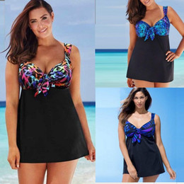 Wholesale Ladies Beach Dress Swimwear - Women's Swimdress Printing Beachdress Bathing Swimwear Swimsuit Plus Size Ladies Swimsuit Skirted Dress Beach Swimwear Swimming Costume 4-18