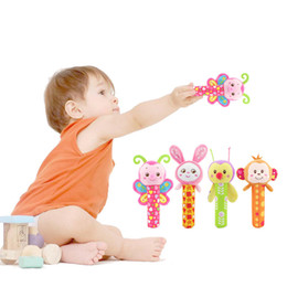 Wholesale Hand Bell Baby Toys - 4 Styles Baby Hand Grip Rod Toys Educational Toys Rattle Animal BB Stick Hand Bell Toy For 0-3 years old baby C2043