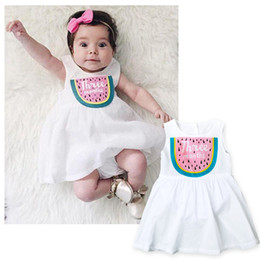 Wholesale Dress Girl Romper - 2017 Baby Girl Clothes Watermelon Printed Summer Romper Dresses For Girls Kids Fashion White Formal Pageant Dresses