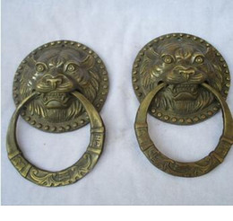 Wholesale Tiger Japanese - Brass Antique Collectible 1 Pair of Chinese Old Bronze Carved tiger head Doorbell  Antiqu Metal Doorbell ,Big old style Doorbell