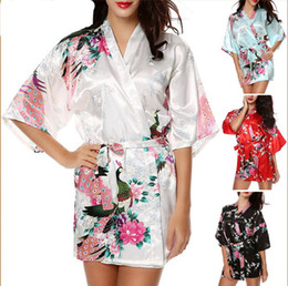 Wholesale Blue Silk Kimono Robes - Hot Sale Silk Satin Wedding Bride Bridesmaid Robe Short Kimono Night Robe Floral Bathrobe Dressing Gown For Women 13 color