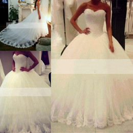 Wholesale Arabic Princess Style - Charming Wedding Dresses Ball Gown 2016 Sweetheart Puffy Vintage Lace Backless Arabic Style Princess Bridal Gowns Court Train