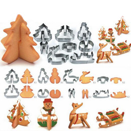 Wholesale Wholesale Metal Christmas Cookie Cutters - Wholesale 8pcs 3D Stainless Steel Christmas Scenario Cookie Cutters Metal Cookie Mold Fondant Cutter Baking Tool DH051