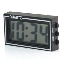 Wholesale Digital Lcd Display Clock - Wholesale-Mini Auto Car Truck Dashboard Digital LCD Display Clock Date Time Calendar Desk Table Clock with Double-sided Tape Black
