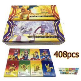 Wholesale Card Board Boxes Wholesale - New Sun & Moon Poke Go Trading Cards 408pcs set Cartoon Anime Poke Card Game for Kids Children Charizard Mewtwo EX Box Party Board Card Game
