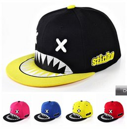 Wholesale Tooth Snapback - Wholesale- fashion runningman chapeau women shark cartoon baseball cap men women tooth brim straight snapback female leisure sun bone