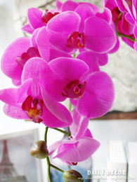 Wholesale White Orchid Heads - wholesale High simulation Real touch 9 head artificial large latex butterfly orchid  wedding decorative Feel Phalaenopsis flowers