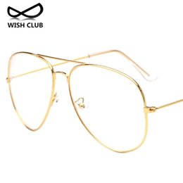 Wholesale Wholesale Aviator Sunglasses - Wholesale- New Fashion Metal Full Rim Glasses Women Reading Glasses Men Aviator Sunglasses Lens Vintage Transparent Glasses Oculos de sol