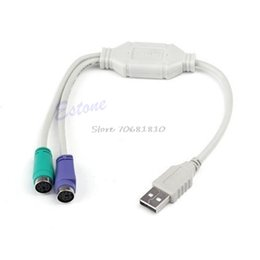 Wholesale Usb Ps Adapter Cable - Wholesale- 1PC USB Male To PS 2 PS2 Female Converter Cable Cord Converter Adapter Keyboard #R179T#Drop Shipping