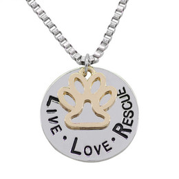 Wholesale Letter Initials Word Pendant - 2017 Sunshine Live Love Rescue letter Love Word dog lover necklace Cat Dog Paw Print Pendant Necklace Mothers Day new fashion NE318