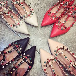 Wholesale Heel Sandals Online - Luxury Designers Women Summer Sandals Studded Sandal Flat With Blet Shoes,Lady Wedding Party Dress Discount online Free Shipping