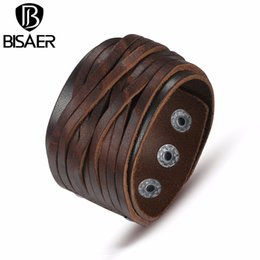 Wholesale Mens Wide Leather Cuff Bracelets - Wholesale- Handmade Genuine Fashion Wide Genuine Brown   Black Leather Bracelet Braided Women Mens wrap Bangle Size Adjustable Men Jewerly