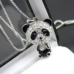 Wholesale Silver Panda Wholesale - Really nice!Shiny PANDA necklace!!shiny rhinestone super charm panda necklace jewelry Cute awesome panda pendant necklaces wholesale