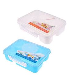 Wholesale Cartoon Plastic Lunch Box - Fashion High Capacity Dinnerware Sets PP Bento Lunch Box Food Container Handle Singel Layer Lunch Box TableWare High Quality