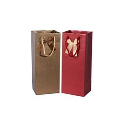 Wholesale Wine Paper Gift Bag - 14.5*11.5*36.5cm Craft Paper Gift Bag Bowknot Decor Double Wine Bottle With Handle Christmas Wedding Favors ZA4035