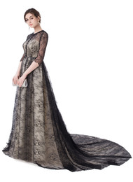 Wholesale Half Sleeved Long Prom Dress - SSYFashion New Evening Dress The Bride Retro Elegant Black Lace Half Sleeved Sweep Train Party Gown Custom Prom Formal Dresses