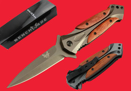 Wholesale Survival Folder Knives - Folding knife Wood Handle Benchmade Butterfly Folder Assisted Opening Tactical Knife 3Cr13 Blade Folding Gift EDC Survival Knives B272Q