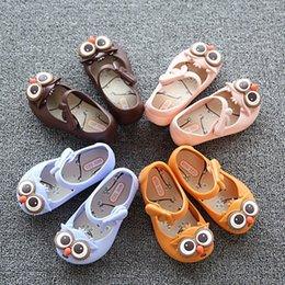 Wholesale Plastic Mini Shoes - 13-16.5cm 2017 new style mini SED brand girls beach sandals children cute owl plastic PVC jelly shoes for kids