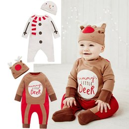 Wholesale Moose Christmas - Toddler kids Christmas romper Ins baby kids cute reindeer letter long sleeve romper+hat 2pcs sets christmas moose printed jumpsuits A00061