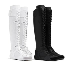 Wholesale laced long knee high black boots - 2017 new fashion leather women long boots mesh woman winter boots ankle zapatillas sapatos femininos sapatilha zapatos mujer