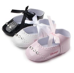 Wholesale Toddler Crystals Shoes - Wholesale- TongYouYuan Infant Toddler Baby Girls Princess Mary Jane PU Leather First Walkers Babe Crystal Little Angle Wedding Shoes