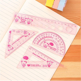 Wholesale Rulers For School - Wholesale- Student ruler Sets Cartoon Ruler Square Goniasmometer Drawing Set for kids School Stationery Set No.9619
