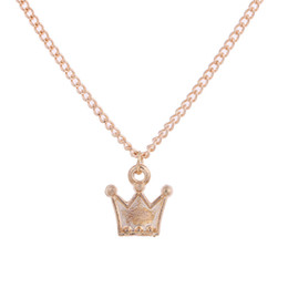 Wholesale Crown Necklace For Women Gold - 10 PCS Elegant Golden Crown Alloy Pendant Necklace Silver Gold Hand Stamped Snake Chain Necklace Gifts For Women Girls Jewelry