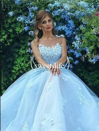 Wholesale Empire Ice - Gorgeous Ice Blue 2017 A line Evening Dresses Spaghetti sleeveless 3D-Floral Appliques Zipper Empire Tulle Tiered Skirts Pageant Party Gowns