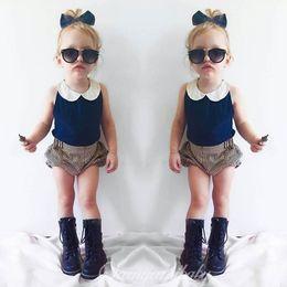 Wholesale Toddler Vests Sets - Ins Navy baby Suit Girls Clothes lace neck Vest Tops +stripe shorts Bloomers 2pcs sets Children Outfit Toddler Clothing Infant Wear A619
