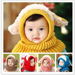 Wholesale Caps For Infants - Winter Baby Hat and Scarf Joint With Crochet Knitted Caps for Infant Boys Girls Children New Fashion Kids Neck Warmer