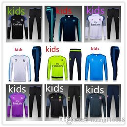 Wholesale Kids Long Jackets - 2016 2017 real madrid boys Tracksuits jackets top quality Training suit BENZEMA JAMES BALE RONALDO kids football Tracksuits
