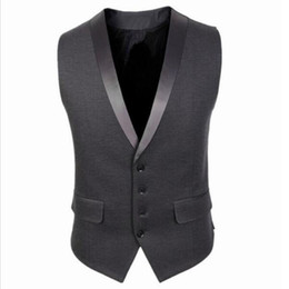 Wholesale Waistcoats Mens Wedding - Wholesale- Brand New 2017 Mens Vests Black Grey Groomsmens Vest Four Buttons Wedding Prom Waistcoat Formal Business Vest Casual Wear