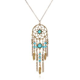 Wholesale Dreamcatcher Necklace Gold - Fashion Bohemia Style Vintage Dreamcatcher Necklace Tassels Feather Pendant for Women Silver Gold Color Blue Beads Long Chain Jewelry