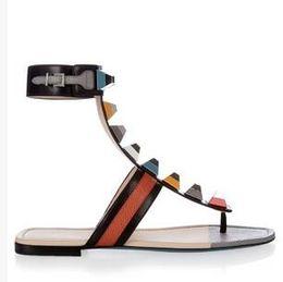 Wholesale Flat Fashion Sandals For Ladies - summer women flats heels sandals rainbow rivet ladies shoes for soft leather roman fashion party shoes mix color patchwork