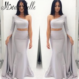 Wholesale Silk One Piece Dress - 2017 Cheap Two Pieces Sexy Evening Dresses One Shoulder Backless Long Sleeves Vestios De Fiesta Mermaid Prom Party Gowns