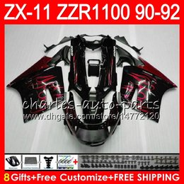 Wholesale 1992 zx11 black - 8Gifts 23Colors For KAWASAKI NINJA ZX11 ZX11R 90 91 92 ZZR 1100 21HM19 ZX 11 11R ZZR1100 red flames ZX-11R ZX-11 1990 1991 1992 Fairing Kit