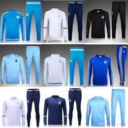 Wholesale Men S Home Pants - 2016 Ligue 1 Maillot de foot Marseille training suits home blue black Survetement tracksuits Uniforms shirts long sleeve tights pants