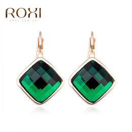 Wholesale Green Jade Crystal Stud Earrings - Noblest Roxi Green Crystal Square Stud earrings for women Christmas Gift wedding and party jewelry brincos ladies earrings gift