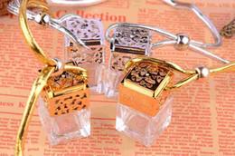 Wholesale Pendant Jar Bottles - 100pcs Quartet 6ML with cover perfume bottle jar bottle car pendants boutique car empty bottle gold  silver car Fragrances Oils Diffusers