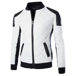 Wholesale Pu Leather Jackets Men White - 2017 New Brand Slim Men Bomber Jackets Casual Fashion Plaid PU Leather Jacket Men Jaqueta de couro Black White Plus Size 5XL 6XL