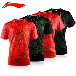 Wholesale Badminton Short Li Ning - Wholesale! New Li-Ning Men Red Table tennis Team Olympic2016 Shirt & Shorts Set MEN T-SHIRT