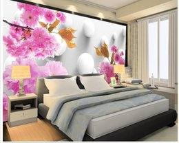 Wholesale Flower Wallpapers High Quality - High Quality Customize size Modern 3d flowers rich background wall wallpaper for walls 3 d for living room
